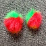 2017マルチカラーのどの毛皮のポンポンのキーホルダーの毛皮の球