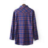 方法女性の着ることのための長い袖の小切手のフランネルの女性のワイシャツ