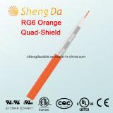 RG6 Kabel van het Schild van de vierling de Oranje Coaxiale voor CATV - Lage Vermindering