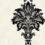 La damassé noire fleurit le papier peint de vinyle pour des murs