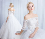 Elegant Ball Gown Off Shoulder Half Sleeves Lace Up Button Bridal Wedding Dress