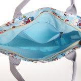 Wasserdichte Belüftung-Reißverschluss-Segeltuch-Schneemann-Muster-blauer Schulter-Beutel (99168)