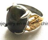 Bisutería en acero inoxidable el anillo de fundición de piedra verde