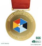 Medaglia dello smalto dell'oro del pezzo fuso del metallo con i nastri (HST-MS-113)