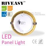 Ronda de alumínio Electroplated 5W Luz do painel de LED de Ouro