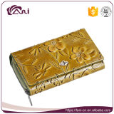 In het groot Dame Purses Wallet met In reliëf gemaakte Bloem