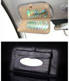 O teste padrão três da pele do jacaré em uma toalha de papel com o automóvel CD da caixa do tecido do papel do carro do grampo da placa da proteção de Sun fornece o saco
