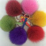 多彩な12-13cm柔らかいキツネの毛皮の球Keychain