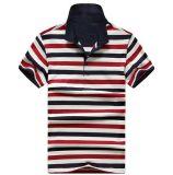 Soem gesticktes kurzes Hülsen-Pikee-gestreiftes Polo-Hemd