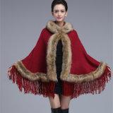 Mesdames fashion acrylique Fausse Fourrure de bonneterie hiver Fringe shawl (YKY4458-1)