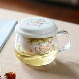 Tazza di tè del reticolo di fiore con l'alta tazza di tè di ceramica di vetro di Borosilicate di Infuser