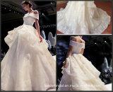 de la alineada de boda hinchada de bola del hombro de los vestidos del Organza nupcial del cordón G17808