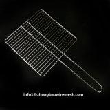 Maglia esterna della griglia del BBQ dell'acciaio inossidabile del cestino del barbecue di 30 x di 30 cm con la maniglia
