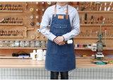 tablier de denim du coton 100p avec la courroie en cuir