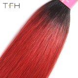 Pre-ColoedまっすぐなOmbreの毛#1b/Bugのブラジル9AバージンのRemyの毛の織り方は束ねる2音色の毛(TFH18)を