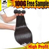 Weave reto natural brasileiro do cabelo 9A humano