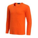 カスタムメンズ長い袖の綿純粋なカラー平野のTシャツ