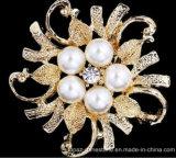 De zilveren Broche van de Parel van de Bloem van het Huwelijk van de Broche van het Kristal van het Bergkristal Bruids (de parel van tb-002 bloem)