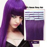 Волосы ленты оптового цвета Prebonded выдвижения человеческих волос Weft естественного пурпуровые