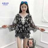 Вязания крючком шнурка кофточки белых женщин рубашка кофточек маскировки Бикини пляжа Boho сексуального вскользь покрывает дешевые одежды Китай