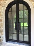 Kundenspezifische elegante Luxuxroheisen-Eintrag-Tür mit ausgeglichenem Glas