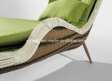Modern Design Outdoor Beach Rattan Single Lounge Chair com Almofada