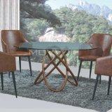 Designs mais barato Cinzas de metais Vaneer Pés superior em vidro para Marrocos, mesa de jantar