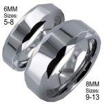 그 & Her의 8mm/6mm Tungsten Carbide Classic Wedding Band Ring Set
