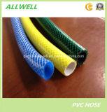 Boyau tressé d'irrigation de l'eau de jardin de fibre flexible verte en plastique de PVC