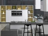 Gabinete de cozinha lustroso da laca branca (zz-009)
