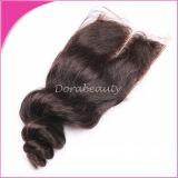 Unprocessed средние человеческие волосы индейца Clsoure шнурка части