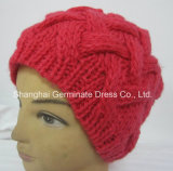 Шлем Beanie типа девушки шлема способа связанный кабелем теплый (Hjb011)