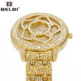 Blumen-Form Belb Diamant-Quarz-Uhr für Dame,