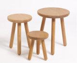 كرسيّ مختبر صلبة خشبيّة مستديرة ([م-إكس2125])