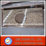 Tapa de la vanidad de Santa Cecila del cuarto de baño del granito con el solo fregadero (DES-C012)