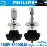 2X Philips LED는 160W 16000lm H4 9003 Hb2 헤드라이트 장비 H/L 광속 전구 6000k를 잘게 썬다