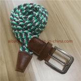녹색과 백색 털실 탄력 있는 가죽 끈 땋는 벨트