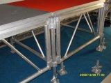 Do alumínio ao ar livre ao ar livre modular grande grande do desempenho do diodo emissor de luz da plataforma da madeira compensada do evento estágio ajustável