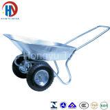 Carrinho de mão de roda chapeado zinco da bandeja com rodas dobro