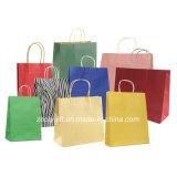 Baratos al por mayor reciclan bolsos de compras del papel de Brown Kraft con la maneta Twisted