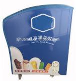 Mini congelador de vidro curvado da porta do gelado congelador