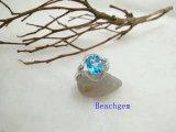 宝石類トパーズの純銀製のリング(R0271)