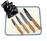 """3-6 """" insieme di ceramica nero della lama di pollice con la maniglia di bambù (ZJ-0039)"""