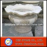 Pote de flor natural de la piedra del jardín de la piedra del granito con los potes redondos del pétalo