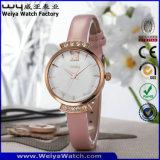 ODMの革バンドの水晶腕時計の偶然の女性腕時計(WY-076E)