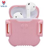 Color de rosa suave superior de la suposición del caso de la cubierta del silicón para Apple Airpods