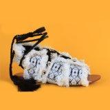 Mesdames White Tie Ankel Cute Flats Sandales avec de la fourrure