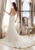 Vestidos de casamento de Tulle do laço da sereia dos vestidos nupciais do V-Neckline 2018 Z1060