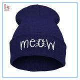 도매 싼 주문 자수 로고 겨울 힙합에 의하여 뜨개질을 하는 베레모 모자