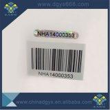 Etiqueta do holograma do número do código de barras da segurança